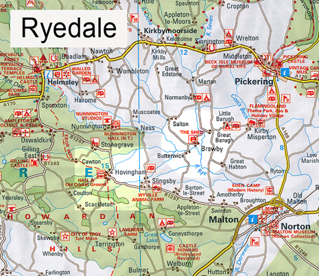 Map of Ryedale, North Yorkshire showing The Shed