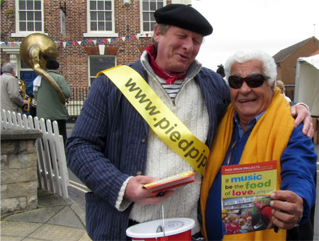 Antonio Carluccio stops off at the Pied Piper bucket collection in Malton.